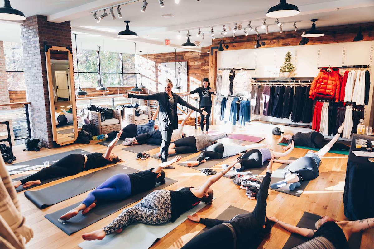 MovementX provider hosting yoga workshop at Athleta as a community event
