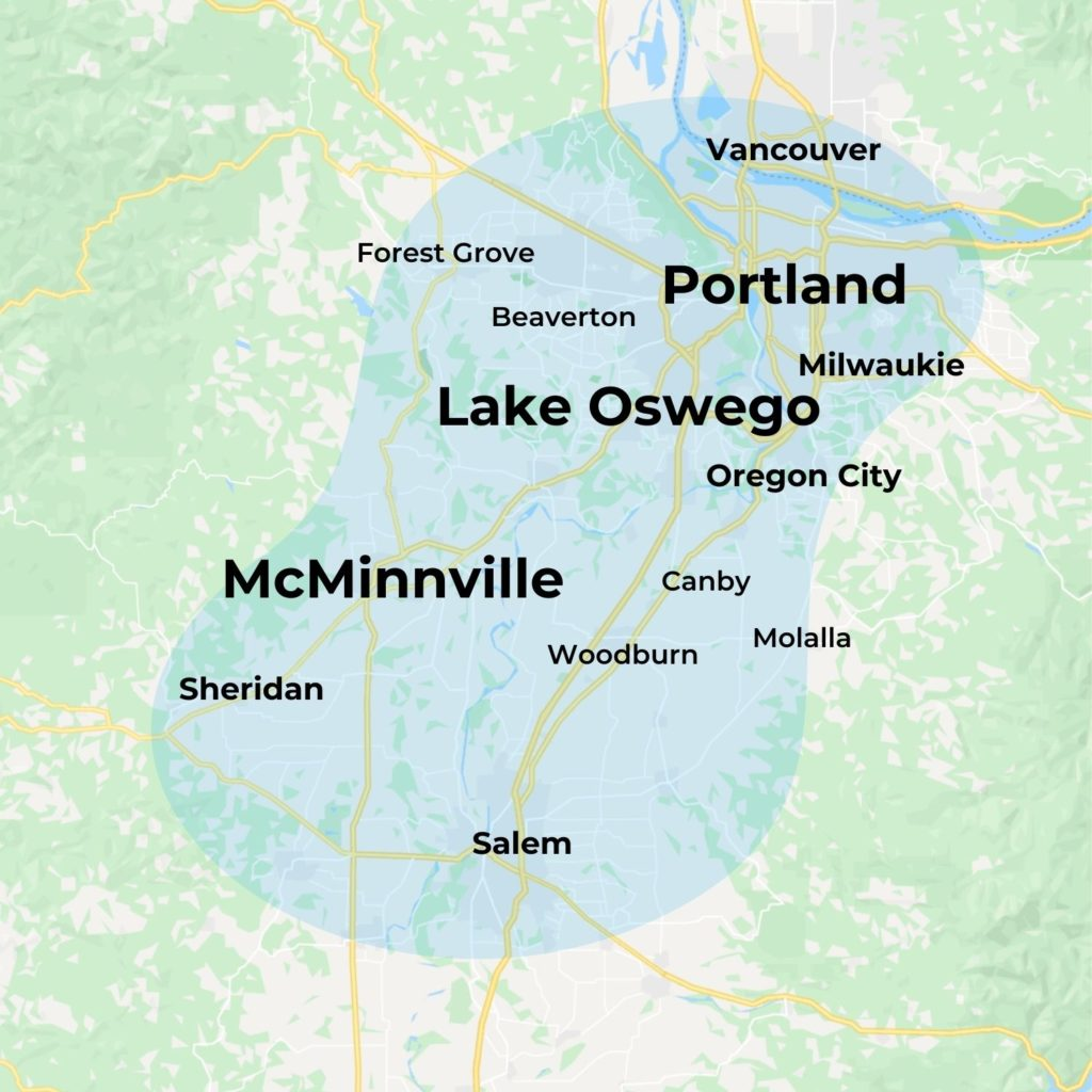 Map of MovementX Physical Therapy in Portland, OR including Lake Oswego and McMinnville