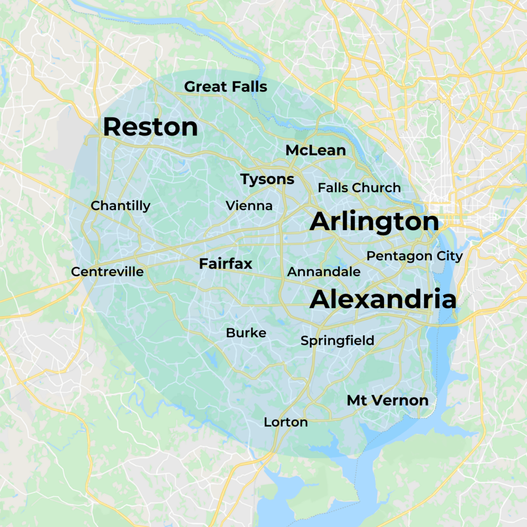 Map of MovementX Physical Therapy in Northern Virginia including Alexandria, Arlington, and Reston