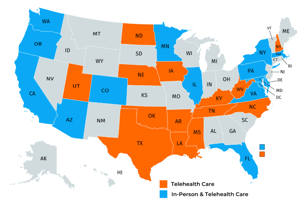 MovementX Physical Therapy Locations Map in the United States